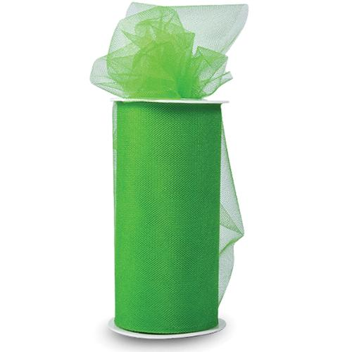 """Tulle Shiny 6"""" Wide 25 Yards Buy-The-Spool-Green"""