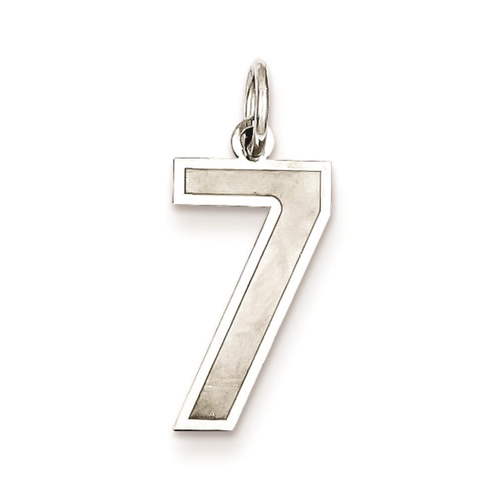 925 Sterling Silver Satin & Polished Medium Number 7 Charm Pendant