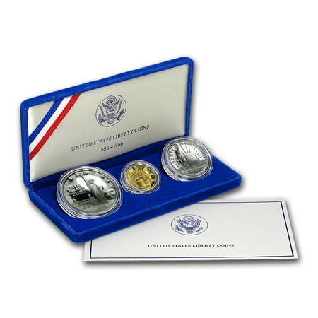 1986 3-Coin Commem Statue of Liberty Proof Set (w/Box & COA) (Walking Liberty Gold Coin)