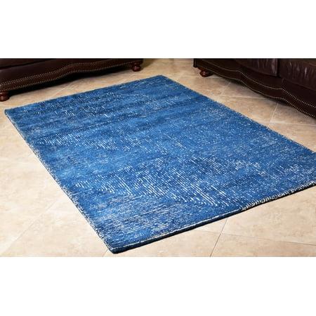 blue white wool hand tufted modern area rug 5x8 ft woolen carpet by mystiquedecors bedroom. Black Bedroom Furniture Sets. Home Design Ideas