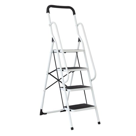 KARMAS PRODUCT Folding 4 Step Ladder with Handrails for Home,Anti-slip Safty Steel Step Stool 300LB (Economical Steel Step)