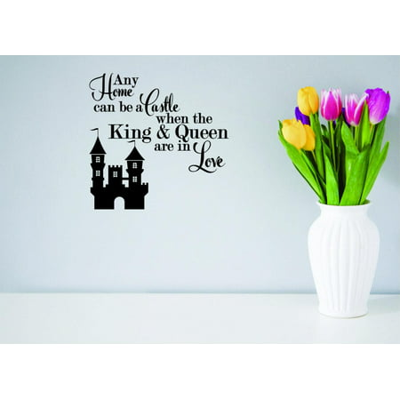 Custom Wall Decal Sticker Any Can Be A Castle When The King & Queen Are In Love Fairy Tale Prince Princess Decor 12 x - Fairy Tale Princess Sticker Sheets