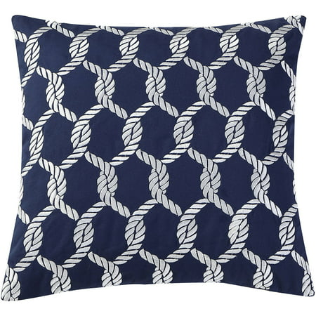 VCNY Home Navy/White Montauk Nautical Rope Embroidered 18