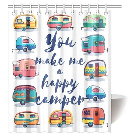 MYPOP Camper Shower Curtain, You Make Me Happy Camper Motivational Quote with Caravans Retro Style Travel Graphic Bathroom Shower Curtain with Hooks, 60 X 72 Inches (Help Me Shower Curtain)