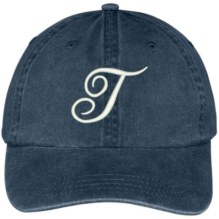 Trendy Apparel Shop Letter T Script Monogram Font Embroidered Washed Cotton Cap - Navy - Monogram Script Font