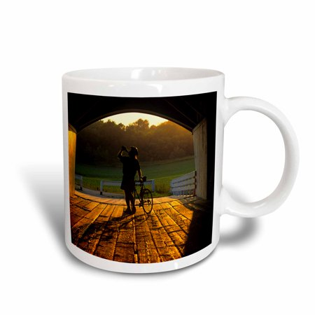 3dRose Bicyclist, Hogback Covered Bridge, Madison Co, Iowa - US16 CHA0022 - Chuck Haney, Ceramic Mug, 15-ounce