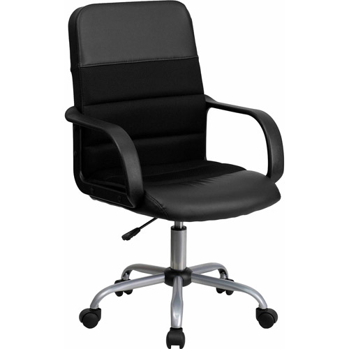 Mid-Back Mesh and Leather Chair, Black