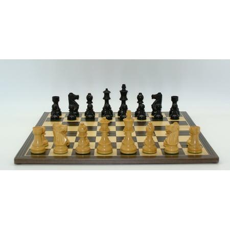 Worldwise Black French Chess Set With Ebony / Maple Board Ebony Wood Chess Pieces