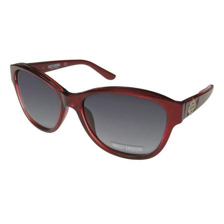 New Harley-Davidson Hd 5031s Womens/Ladies Designer Full-Rim 100% UVA & UVB Burgundy Designer Spectacular Hip Sunnies Shades Frame Gradient Gray Lenses 59-17-135 Strass Sunglasses/Eyewear Burgundy Gradient Lens