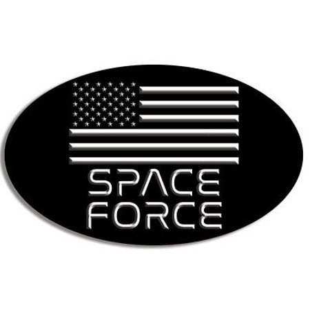 Oval Usa Flag (3x5 inch OVAL Space Force Sticker - trump new nasa military agency us usa flag )