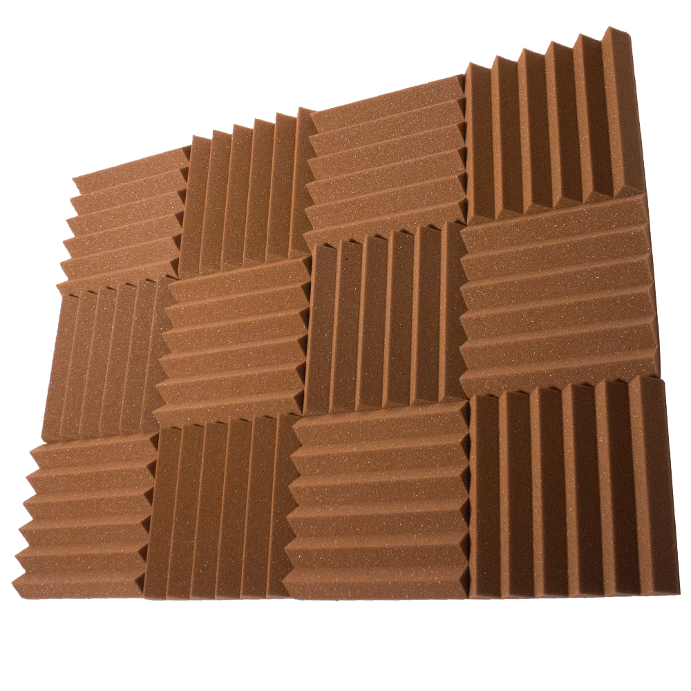 Seismic Audio 12 Pack of Brown 2 Inch Studio Acoustic Foam Sheets - Sound Dampening Tiles - SA-FMDM2-Brown-12Pack