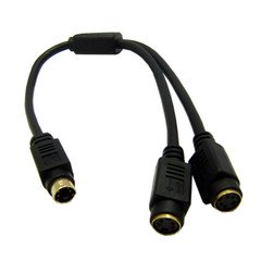 S-Video Y Cable, S-Video (miniDin4) Male to Dual S-Video (miniDin4) Female, 1 foot