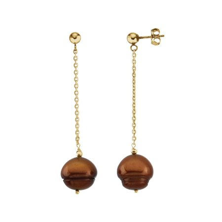 Freshwater Dyed Chocolate Cultured Circle Pearl Earrings in 14k Yellow Gold