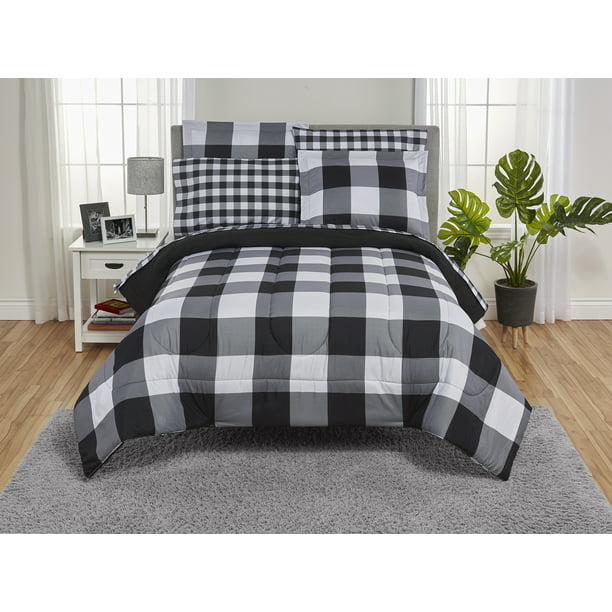 Piece Buffalo Plaid Bed In A Bag, Black And White Check Queen Bedding