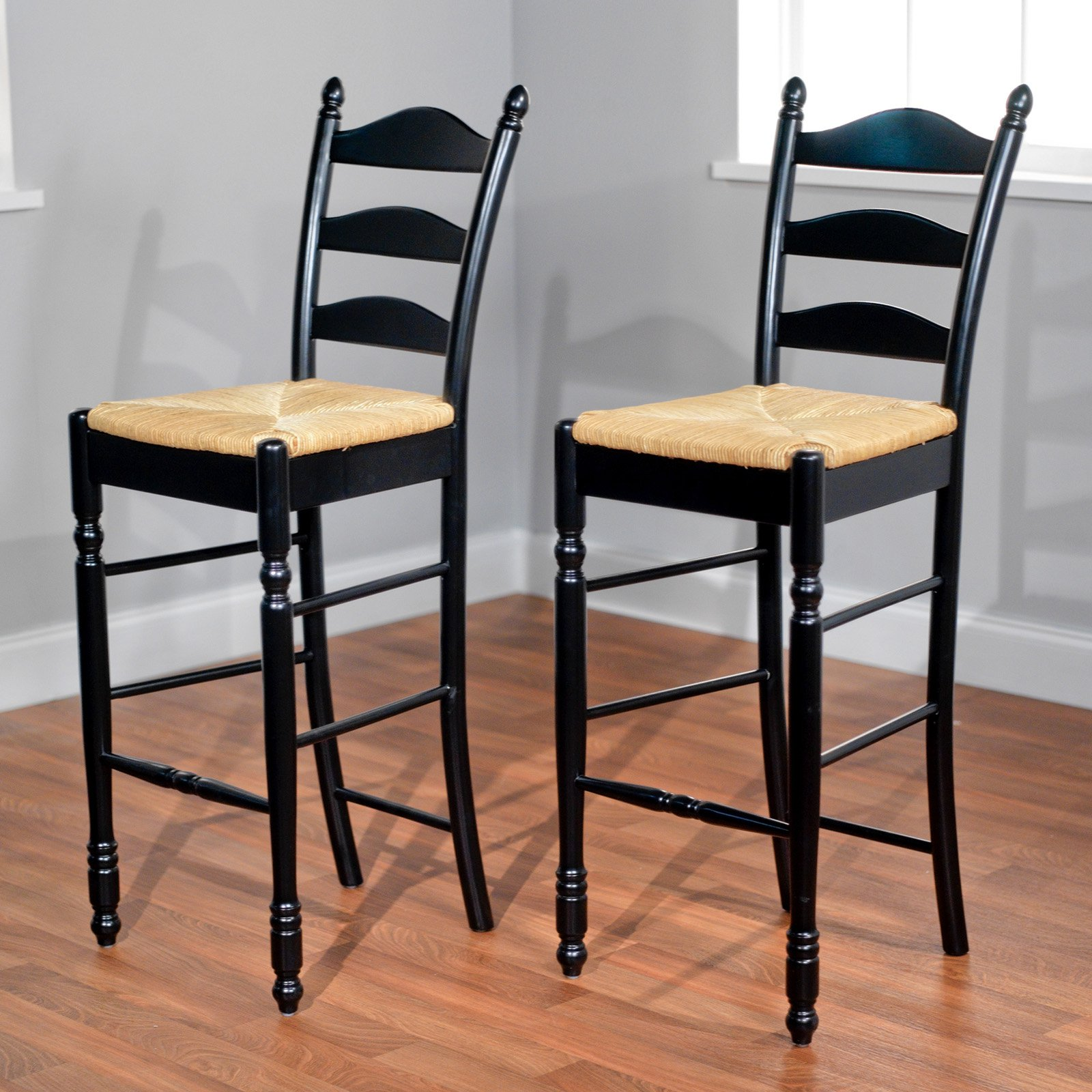 Target Marketing Systems 30 in. Ladder Back Bar Stool - Set of 2