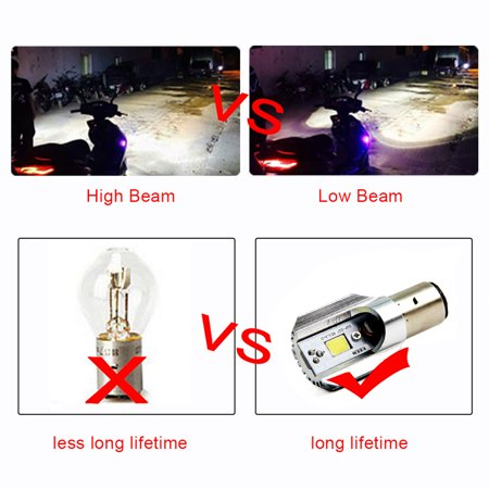 2Pc H6 Ba20d Led Motorcycle Headlight Bulbs Led Cob 1000lm Bulb