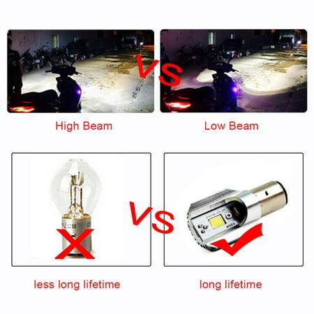 2Pc H6 Ba20d Led Motorcycle Headlight Bulbs Led Cob 1000lm Bulb Scooter ()