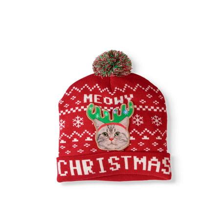 9cd5287afb04c  Meowy Christmas  LED Light-Up Knit Festive Beanie - Walmart.com