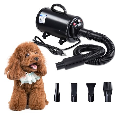 Yescom 2400W 3.2HP Dog Cat Grooming Pet Hair Dryer Quick Blower Heater Electrodeless Speed w/ 4 Nozzles ()