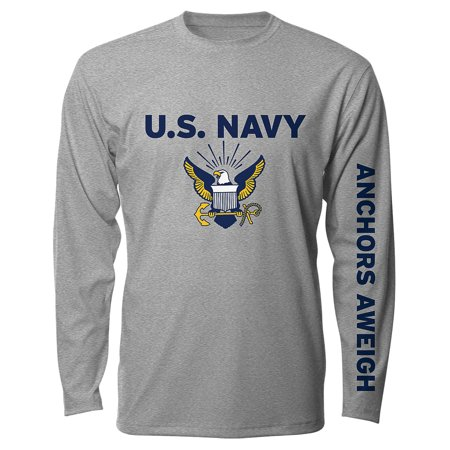 2a796dff538 US Navy Military Long Sleeve T-Shirt - Logo Sleeve Design