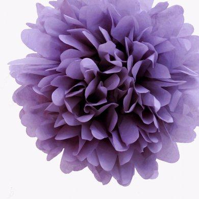 Quasimoon EZ-FLUFF 12'' Lavender Tissue Paper Pom Poms Flowers Balls, Decorations (4 Pack) by PaperLanternStore - Tissue Paper Flowers Easy