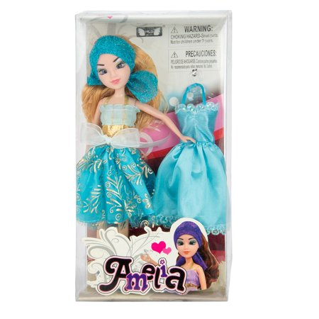 MyFriends Dress-Up Amy 12 Inch Poseable Toy Fashion Doll With Additonal Outfit For Girls, Daughters, Pretend Play