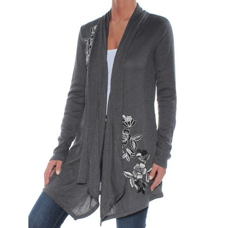 INC Womens Gray Embroidered Floral 3/4 Sleeve Open Cardigan Sweater  Size: L
