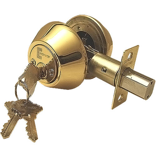 """Constructor"" Deadbolt Door Lock Set with Double Cylinder, Polished Brass Finish"