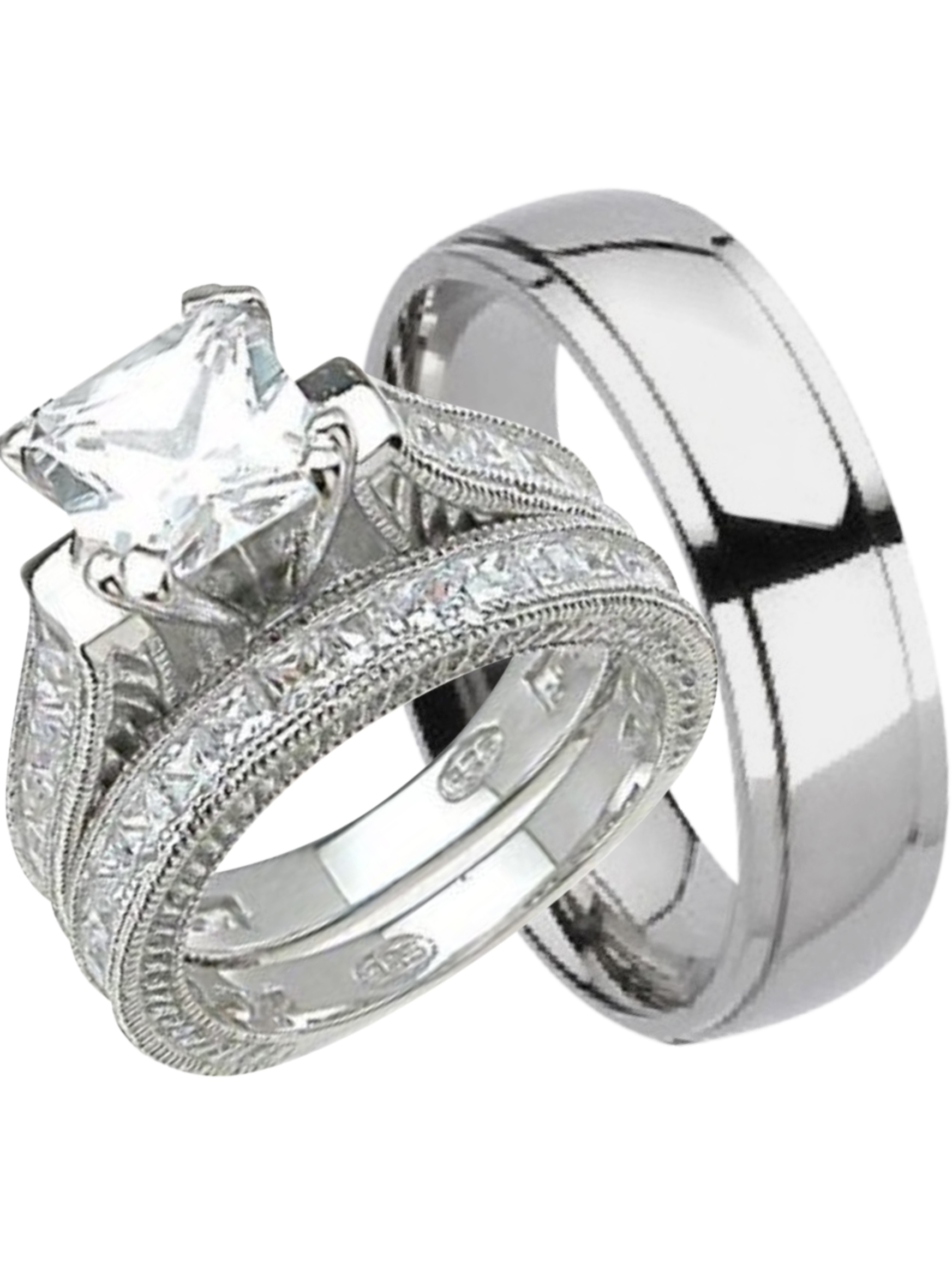 His and Hers Wedding Ring Set Matching Trio Wedding Bands for Him (Titanium) and Her (Sterling Silver) (6/9)