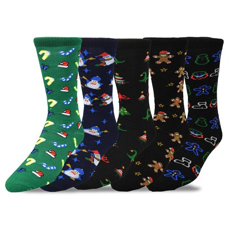 Teehee Christmas And Holiday Fun Crew Socks For Men 5 Pack  Gingerbread Man Candies