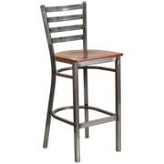 Flash Furniture HERCULES Series Clear Coated Ladder Back Metal Restaurant Barstool, Wood Seat, Multiple Colors