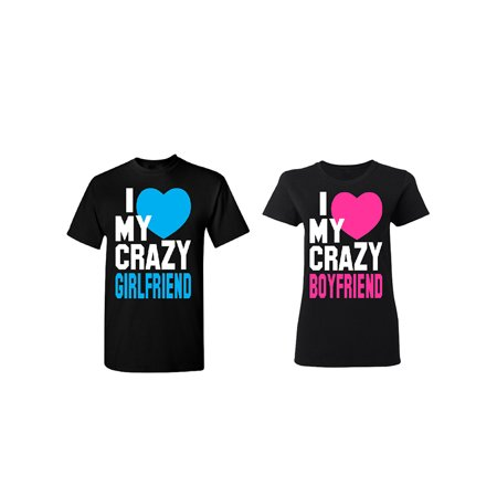 Crazy Girlfriend - Boyfriend Couple Matching T-shirt Set Valentines Anniversary Christmas Gift Men Small Women - Halloween Gifts For Boyfriend