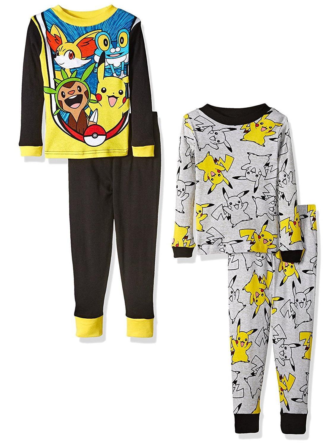 Pokemon Boys' Pikachu 4 Piece Cotton Pajama Set, Black/Grey PJ Kids Sizes 4-10