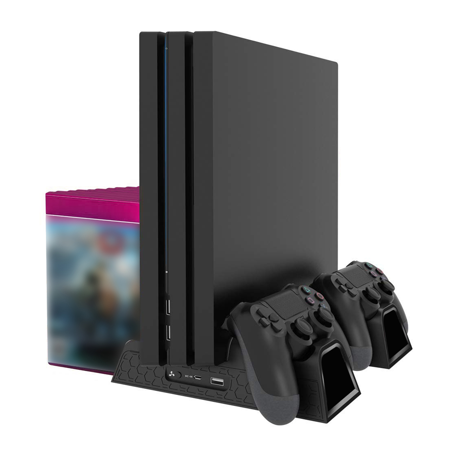 Vertical Stand Cooling Fan Controller Charger Station w/ 12Discs Storage For PS4
