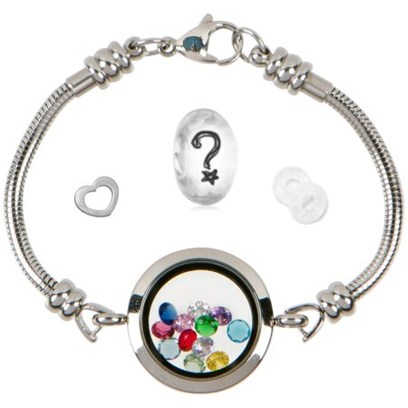 Floating Locket Charm Bracelets For Women Stainless Steel Snake Chain Fits Pandora Charms Magnetic 25mm 7 5 Inch
