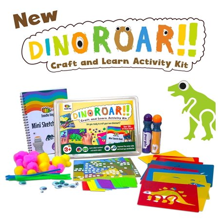 Christmas Crafts For Preschoolers (Dinosaur Arts and Crafts kit supplies for kids & preschooler includes: Dab & Dot Markers, Stencils, Mosaic, Sketch book, pom poms, googly eyes & pipe cleaners -A busy box of)