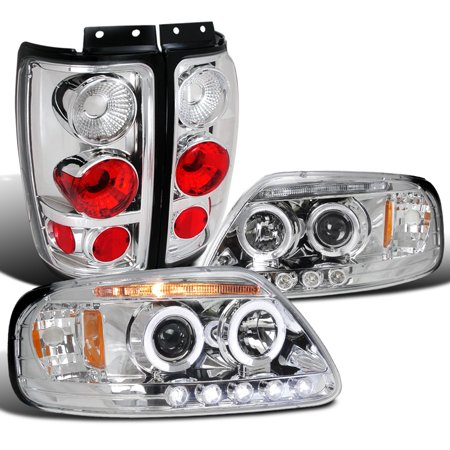 Spec-D Tuning For 1997-2002 Ford Expedition Chrome Led Dual Halo Headlights + Clear Tail Brake Lights (Left+Right) 1997 1998 1999 2000 2001 2002