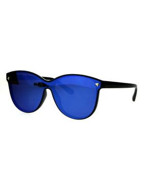 Product Image Mens Unique Shield Hipster Plastic Hornrim Color Mirror Lens Sunglasses  Blue 7103dc3a422