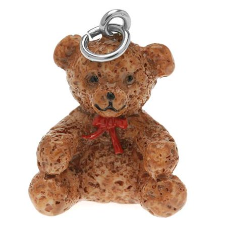 Gemstone Teddy Bear Charms (Hand Painted 3-D Cute Teddy Bear With Red Ribbon Charm 24mm Lightweight)