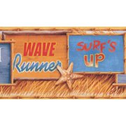 Wallpaper Border - Beach Surf Wave Starfish Retro Wall Border for Teens Bedroom, Roll 15 ft X 9 in