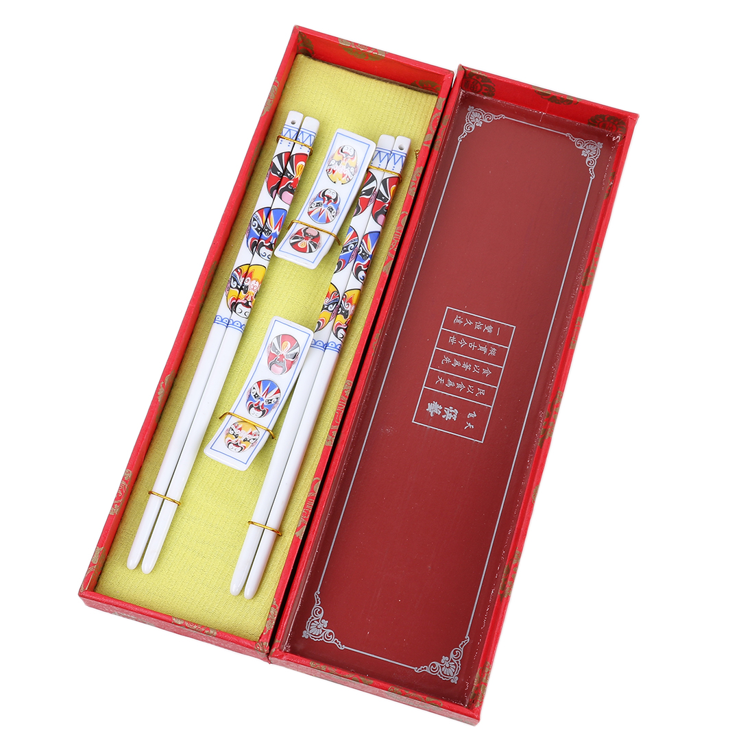 Casa-J Chinese Beijing Opera Mask Shape Porcelain Chopsticks Set