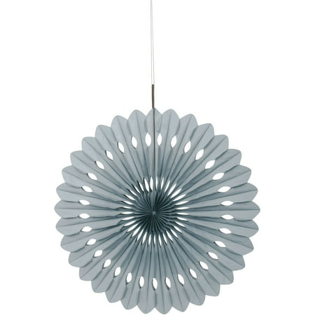 Mini Paper Fans (Tissue Paper Fan Decoration, 16 in, Silver,)