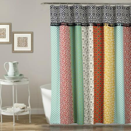 Boho Patch Shower Curtain Orange/Navy, 70