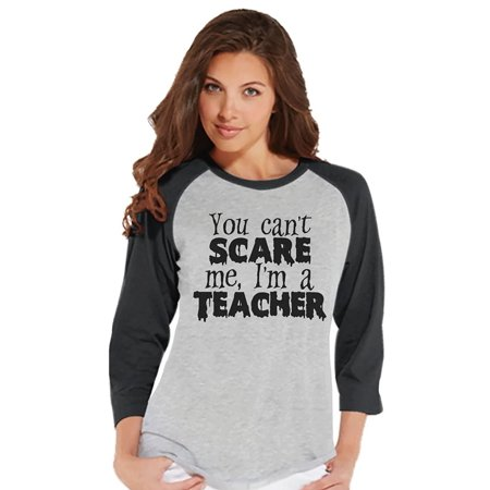 Custom Party Shop Womens I'm a Teacher Halloween Raglan Shirt - (I'm Having A Halloween Party)