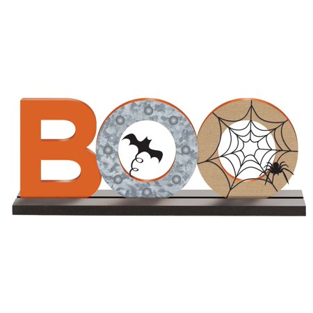 Boo Standing Base Sign Halloween Holiday House Decoration (Halloween Boo Signs)