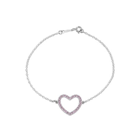 Pink CZ Heart Bracelet in Rhodium Plating 925 Sterling Silver with 7 Inch Chain - image 1 of 2