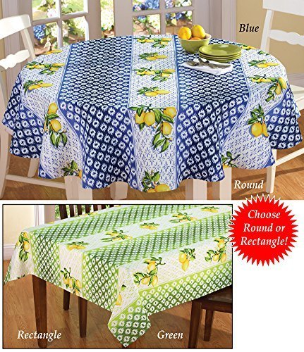 Exceptionnel Collections Etc Lemon Trellis Patterned Tablecloth, 70 Round, Blue By  Collections Etc