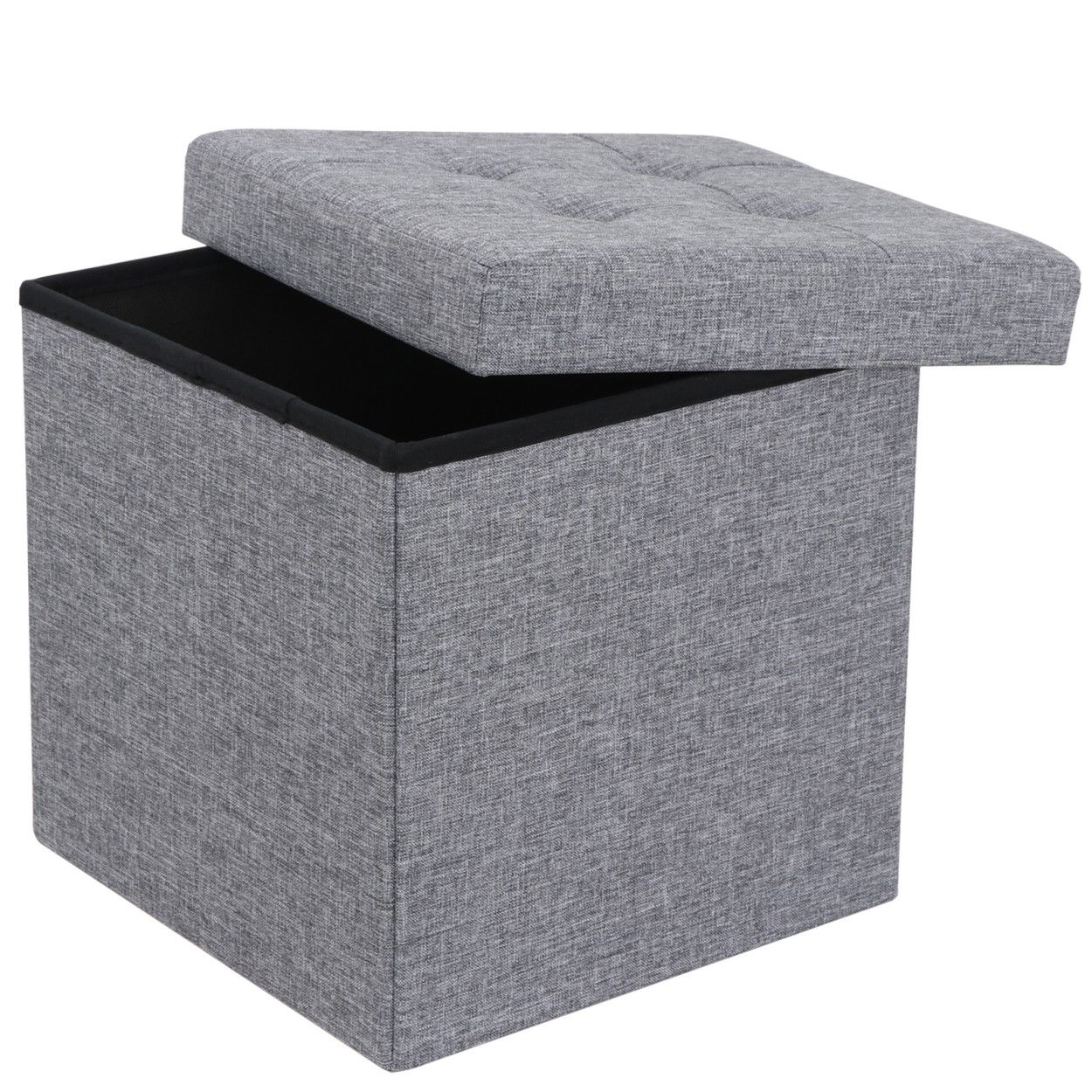 Zeny Foldable Tufted Faux Leather Storage Ottoman Square Cube Foot Rest  Stool