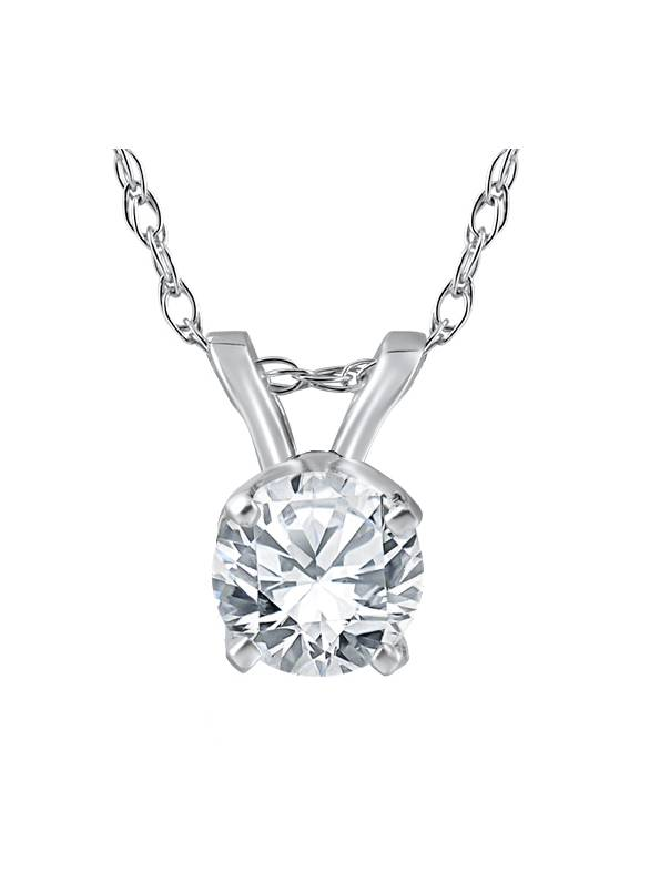 "3 8 Ct Solitaire Natural Diamond Pendant 14K White Gold w  18"" Chain by Pompeii3"
