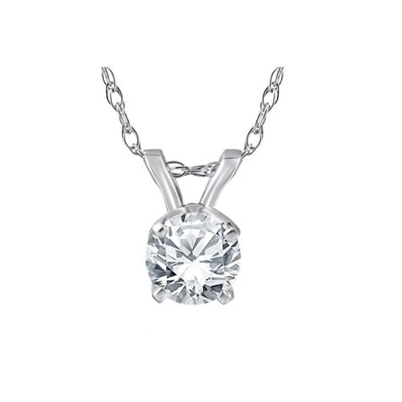 "Pompeii3 3/8 Ct Solitaire Natural Diamond Pendant 14K White Gold w/ 18"" Chain"